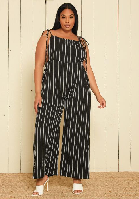 Asoph Plus Size Stripe Overalls