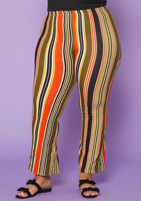 Asoph Plus Size Stripe Flare Leggings