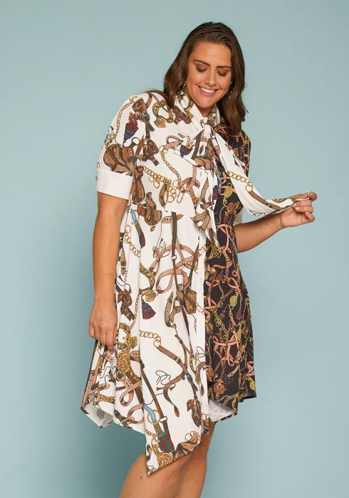 Asoph Plus Size Multi Print Midi Dress