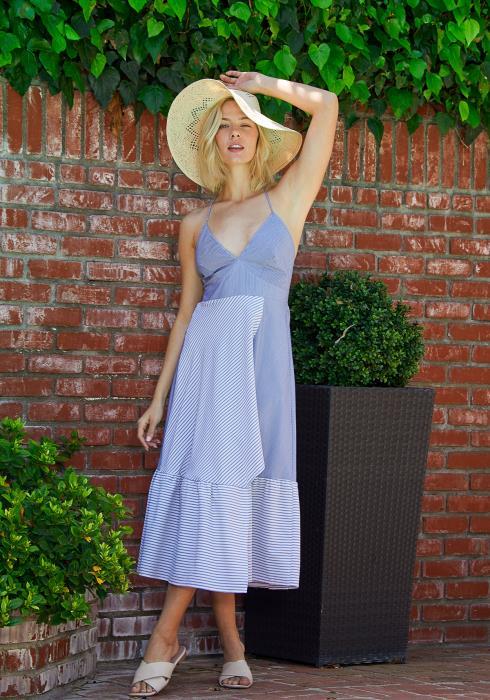 Tansy Stripe Empire Wrap Dress