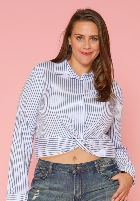 Asoph Plus Size Button Up Crop Top