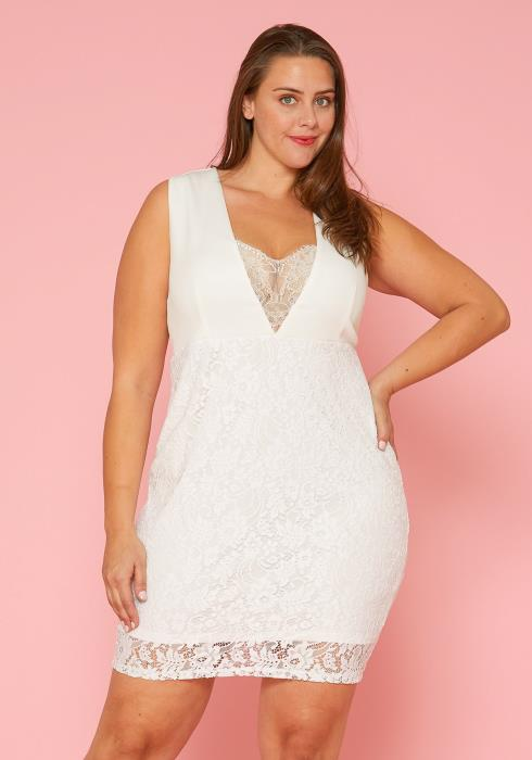 Asoph Plus Size Lace Mini Dress