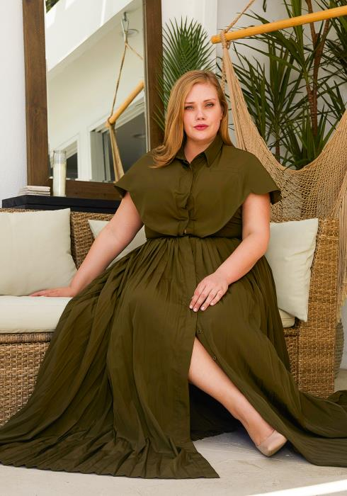 Asoph Plus Size Pleated Maxi Dress