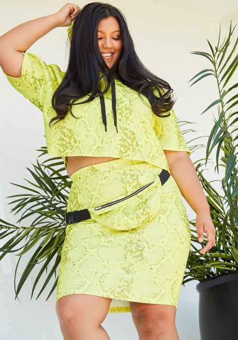 a0c101ea61d Asoph Plus Size Crop Hoodie   Pencil Skirt Set