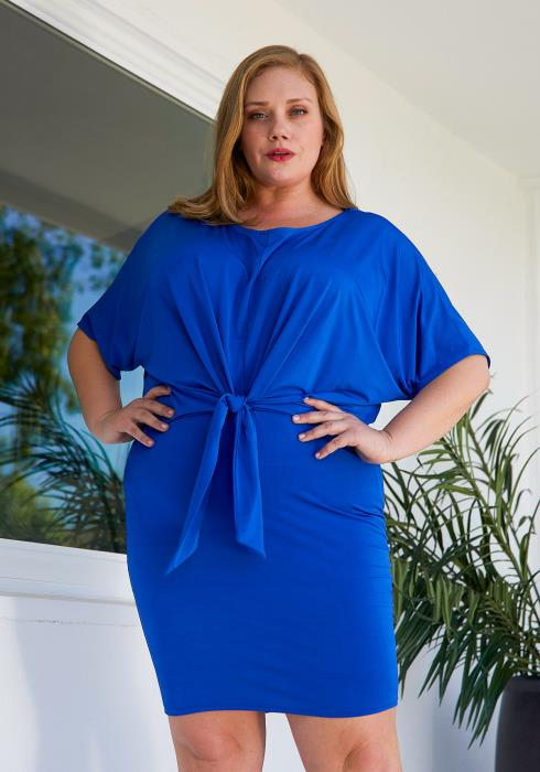 Asoph Plus Size Tie Front Mini Dress