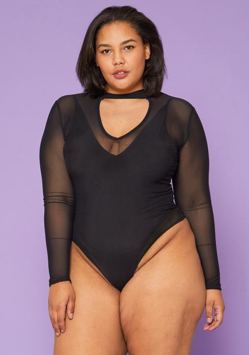 Asoph Plus Size Sheer Bodysuit