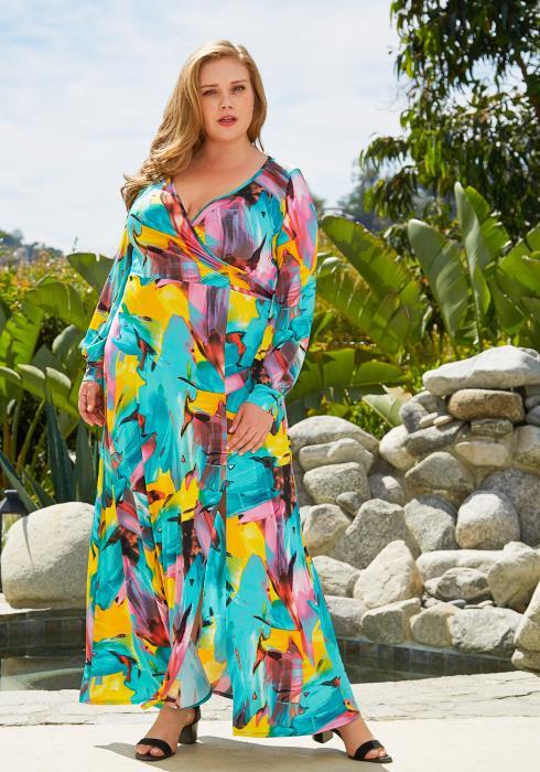 Asoph Plus Size Multi Color Maxi Dress