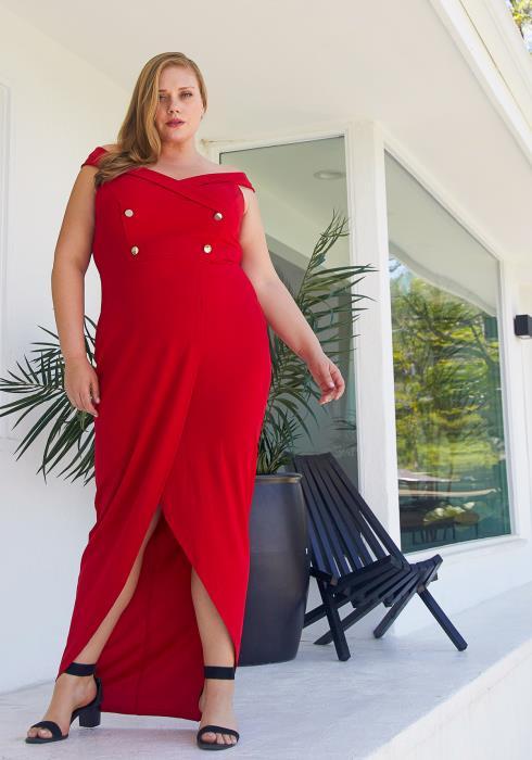 Asoph Plus Size Maxi Hi Lo Evening Party Dress