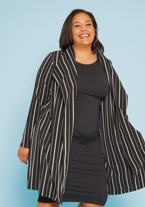 Asoph Plus Size Stripe Coat