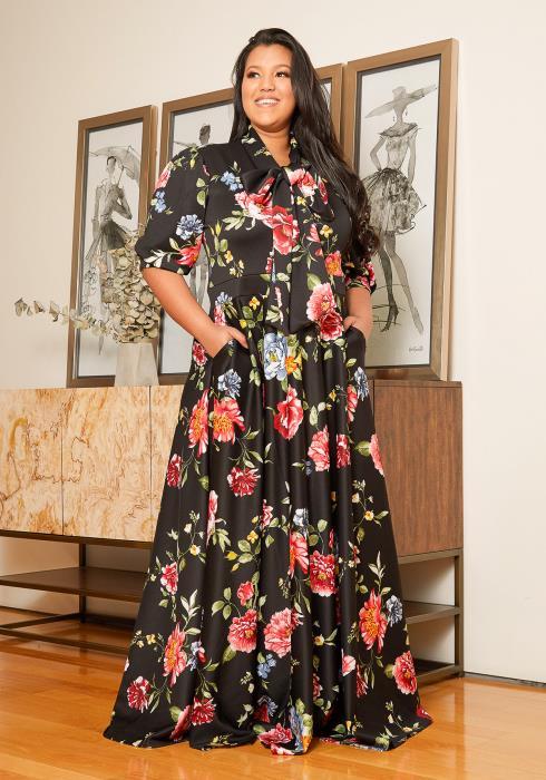 Asoph Plus Size Floral Flare Maxi Dress