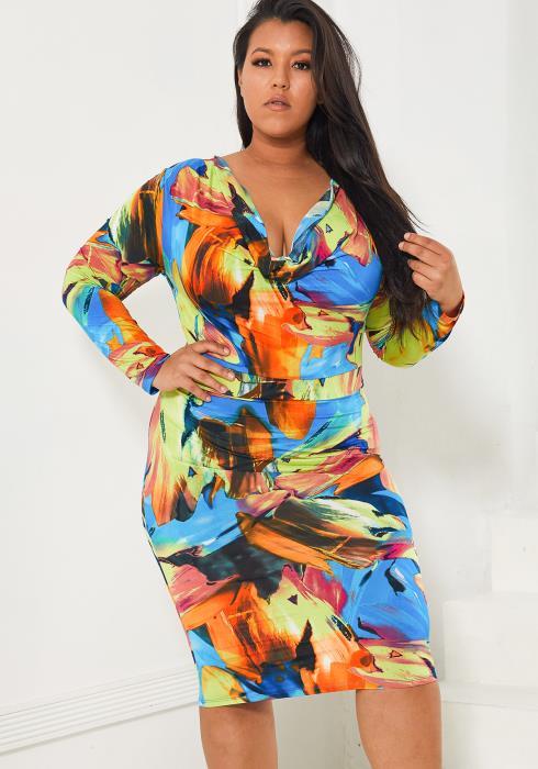 Asoph Plus Size Multi Color Bodycon Dress