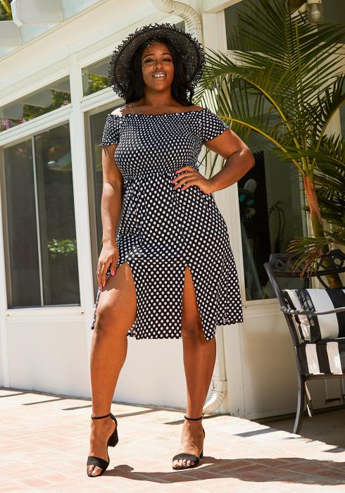 Asoph Plus Size Polka Dot Sun Dresses