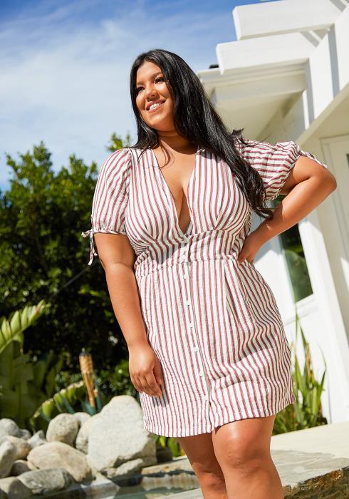 Asoph Plus Size Stripe Mini Dresses