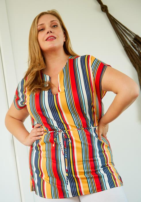Asoph Plus Size Stripe Tunic Blouse