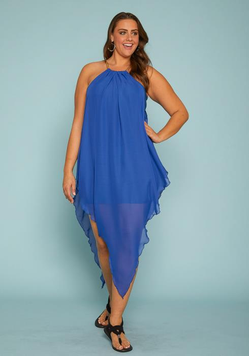 Asoph Plus Size Chiffon Handkerchief Dress