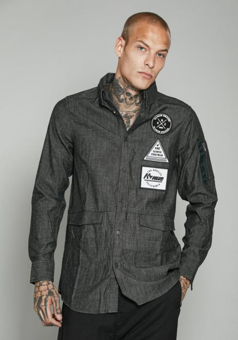 DENIM SHIRT WITH POCKETS AND PATCHES