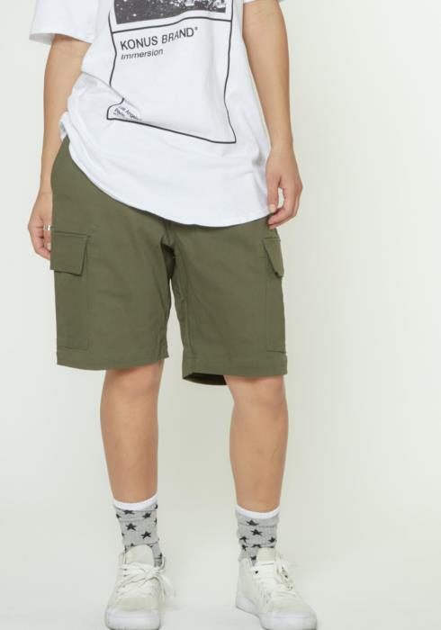 MENS CARGO SHORTS WITH NYLON TAPE AND BUCKLE FASTENER
