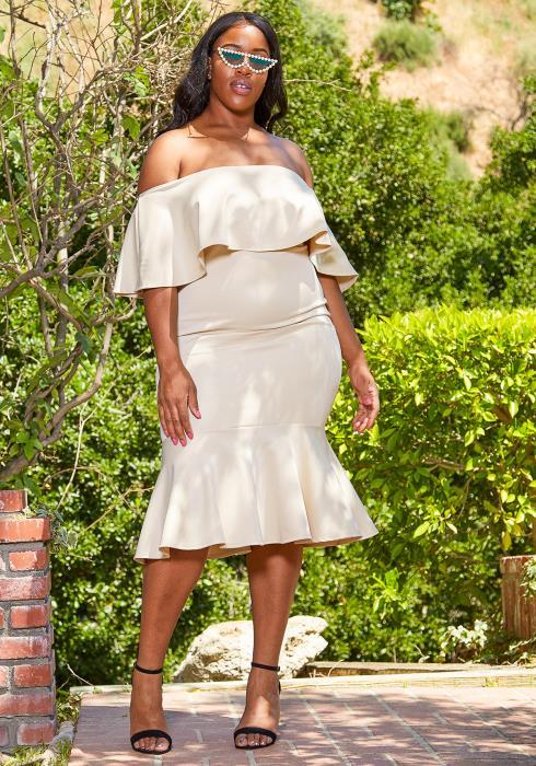 Asoph Plus Size Off Shoulder Party Dress