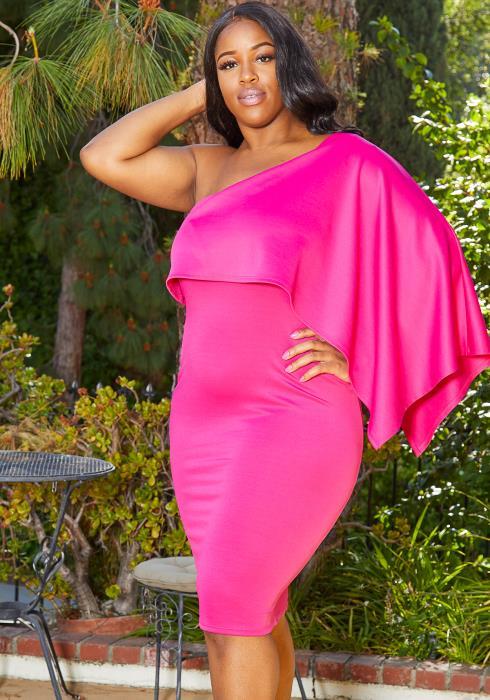 Asoph Plus Size One Shoulder Party Dress
