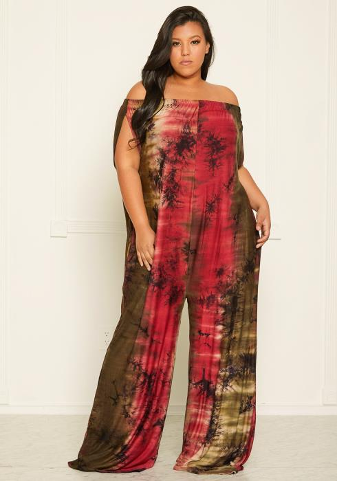 Asoph Plus Size Tie Dye Off Shoulder Jumpsuit