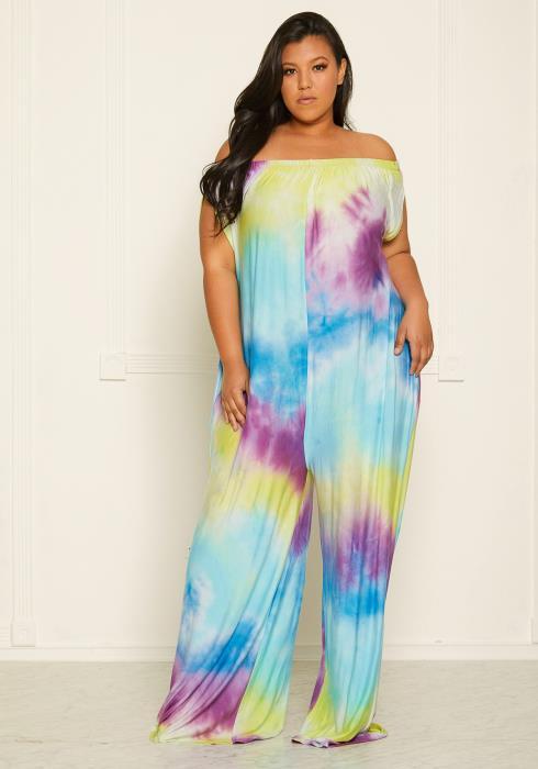 Asoph Plus Size Tie Dye Off Shoulder Jumpsuit