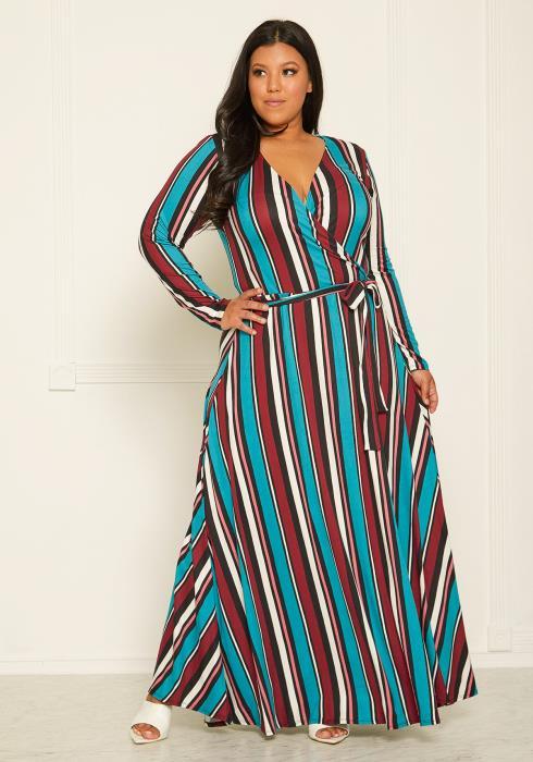 Asoph Plus Size Stripe Maxi Wrap Dress