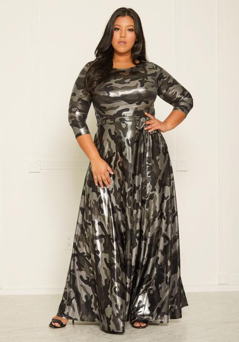 Asoph Plus Size Reflective Camo Print Flare Maxi Dress