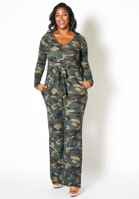 Asoph Plus Size Camo Print Jumpsuit