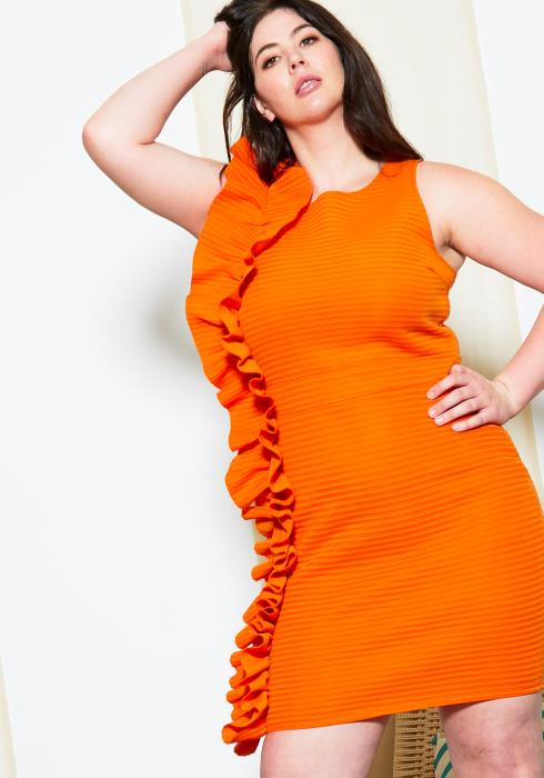 Asoph Plus Size Textured Side Ruffle Dress
