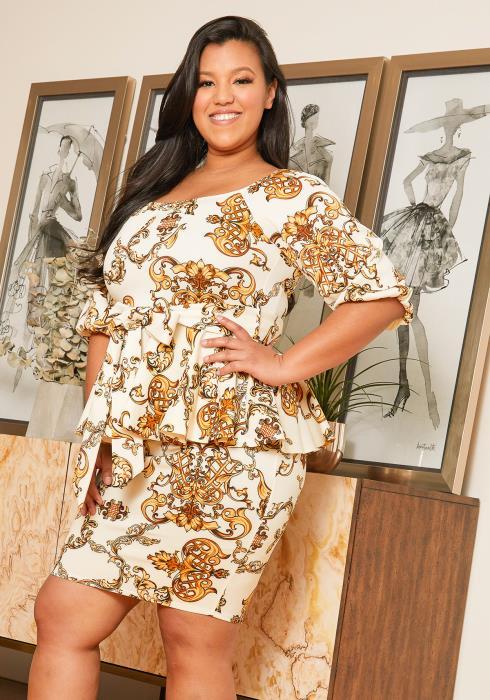 Asoph Plus Size Multi Print Peplum Dress