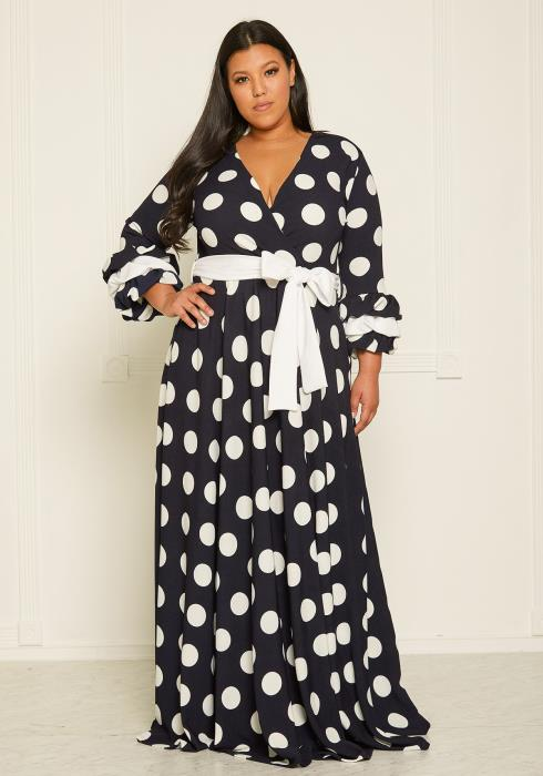 95ba31b9a3a Asoph Plus Size Polka Dot Flare Maxi Dress