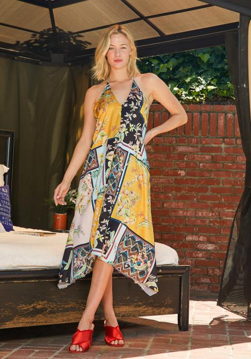 Tansy Multi Print Halter Tent Dress