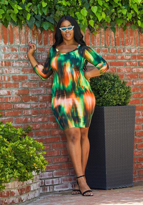 Asoph Plus Size Tie Dye Bodycon Dress