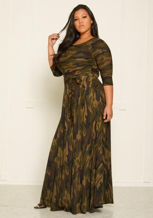 Asoph Plus Size Camo Print Flare Maxi Dress