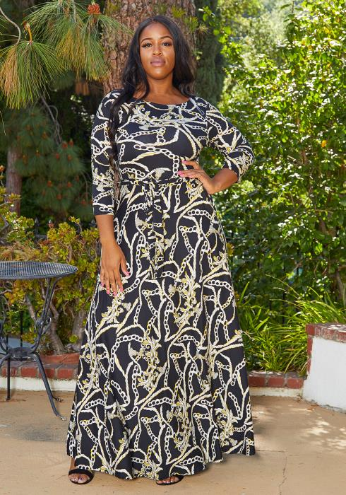Asoph Plus Size Chain Print Flare Maxi Dress