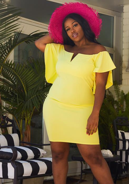 Asoph Plus Size Off Shoulder Bodycon Dress