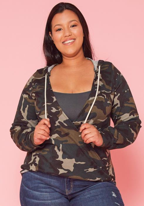 Asoph Plus Size Camo Print Wrap Sweater