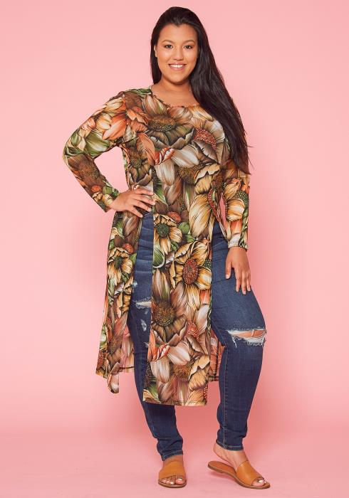 Asoph Plus Size Sheer Floral Top