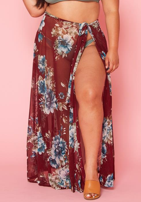 Asoph Plus Size Sheer Wrap Skirt
