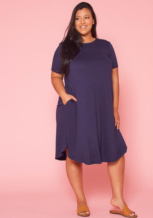 Asoph Plus Size Basic Midi Dress