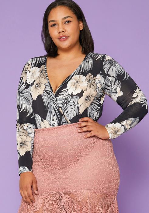 Asoph Plus Size Floral Wrap Bodysuit