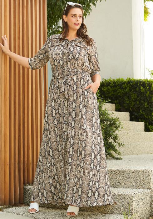 Asoph Plus Size Snake Print Maxi Dress