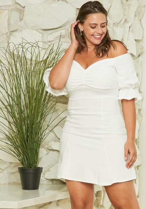 Asoph Plus Size Off Shoulder Mini Dress