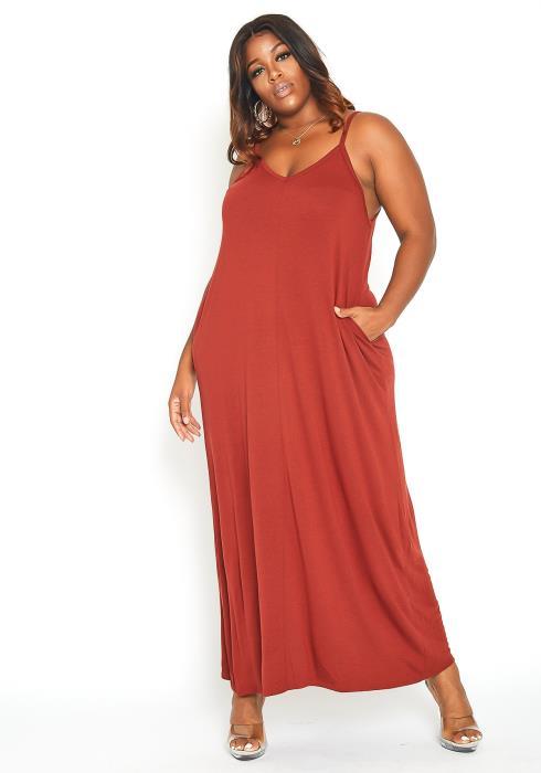 Asoph Plus Size Everyday Basic Cami Maxi Dress