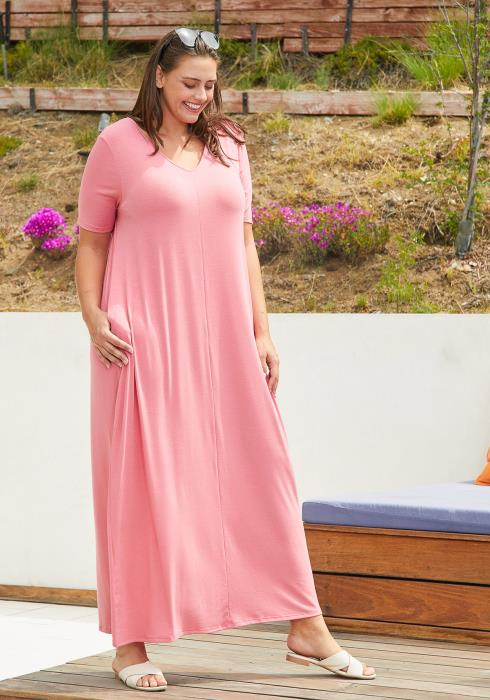 263ca031309 Asoph Plus Size Basic T-shirt Maxi Dress