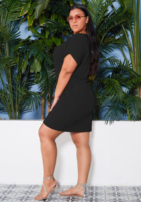 Asoph Plus Size Basic T-Shirt Mini Dress