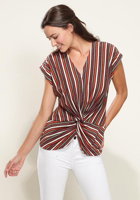 Pleione Twist Front Sleeveless Knit Top