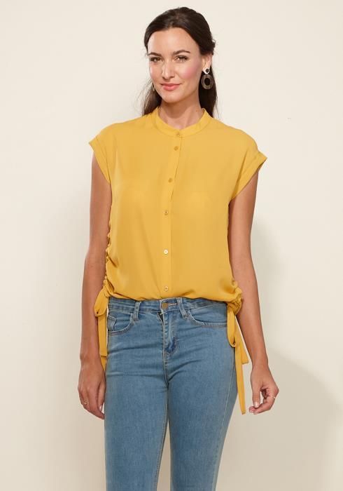 Pleione Womens Button Down Side Tie blouse