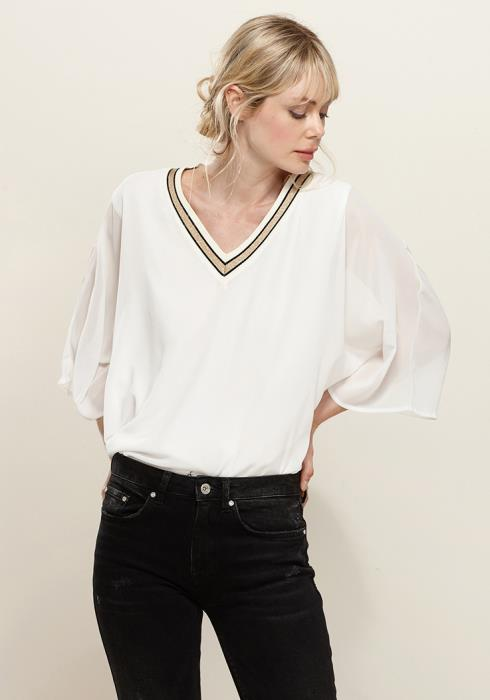 Pleione V-Neck Chiffon Blouse Top