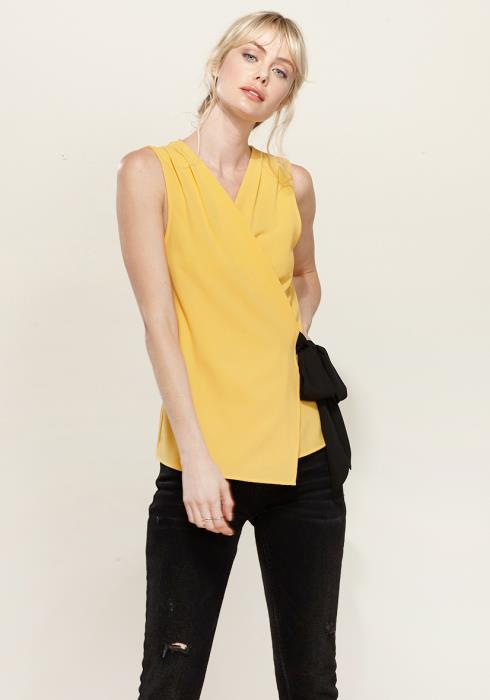 Pleione Pleated Wrapped Side Tie Blouse
